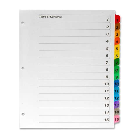 Avery Ready Index 15 Tab Template Notebook Divider Tabs Template