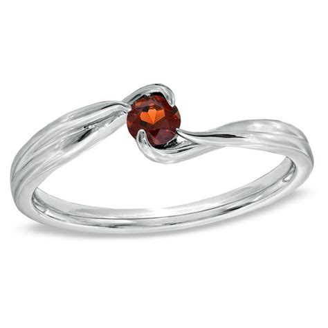 garnet bypass promise ring in sterling silver promise