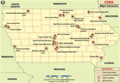 iowa state in usa map maps update 800554 iowa tourist attractions map iowa