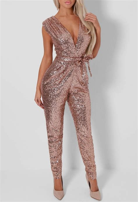 rose pattern jumpsuit lulu rose gold sequin jumpsuit fashion pinterest