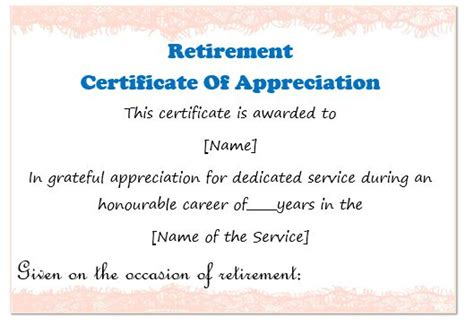 retirement certificate template 50 professional free certificate of appreciation