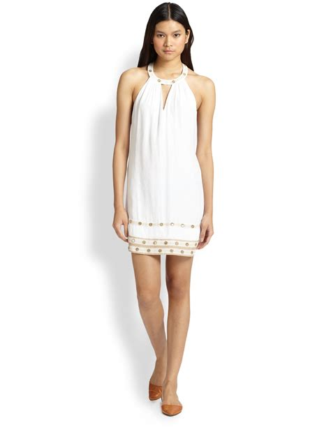 Halter Style by Bcbgmaxazria Embroidered Halter Style Dress In White Lyst