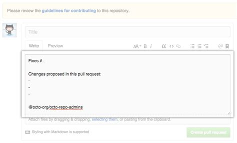 github page template creating a pull request template for your repository