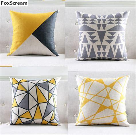 Bantal Sofa Yellow 40x40cm nordic style cushion cover gray yellow decorative pillows geometric cushions covers home decor