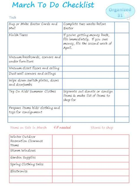 free printable to do list for moms free printable march to do checklist money saving mom 174
