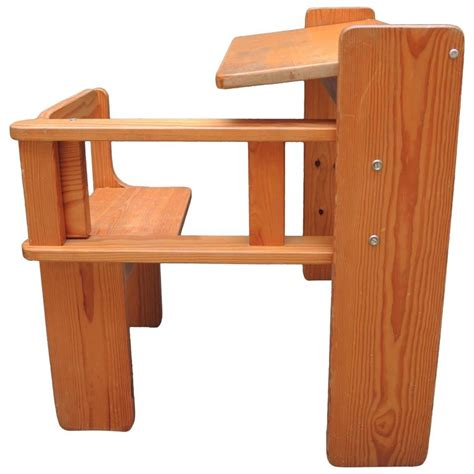 mid century modern folding wood childs desk with
