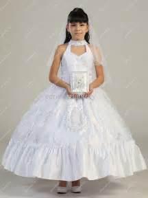 beautiful white flower girls dresses special neckline tea length little girls wedding party