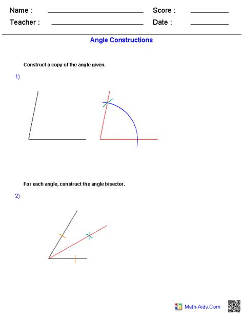 Construction Worksheets Geometry geometry worksheets constructions worksheets