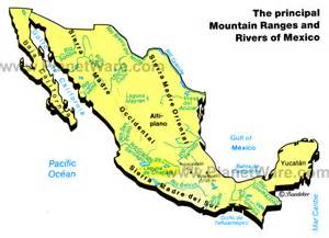 us waterways and mexico map map of mexico mountain ranges rivers planetware
