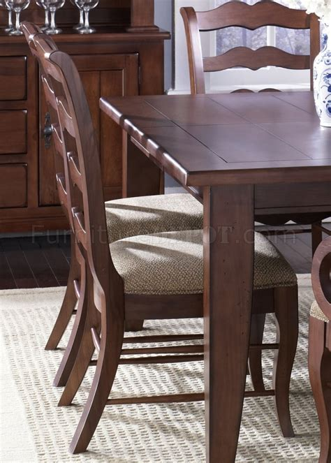 treasures 77 t4408 dining table in rustic cherry w