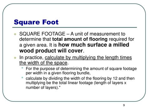 total square footage calculator ppt calculating board feet linear feet square feet powerpoint presentation id 453005