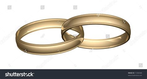 two gold wedding rings bands linked stock illustration