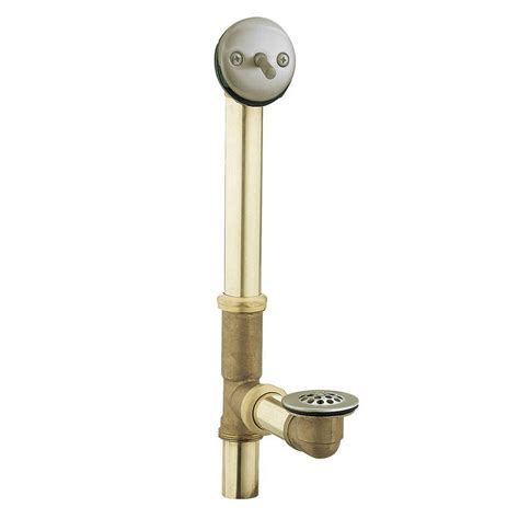 moen brass trip lever tub drain assembly in chrome 90410