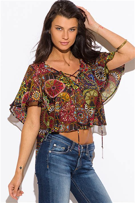 22027 Ethnic Colorfull Sm purple pink tie dye print bell sleeve chiffon tie front boho crop top inexpensive bell sleeve