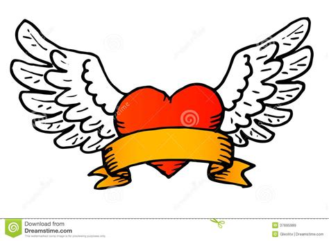 traditional tattoo style vector winged heart royalty free