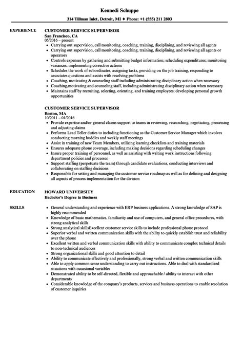Customer Service Supervisor Resume