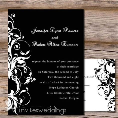 Wedding Invitations Black by Capable White And Black Wedding Invitation Iwi130