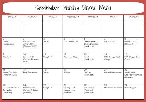 monthly dinner menu template search results for free monthly menu planner template