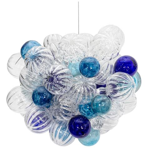 Glass Bubbles Chandelier Usa Small Glass Chandelier With Handblown Bubbles At 1stdibs