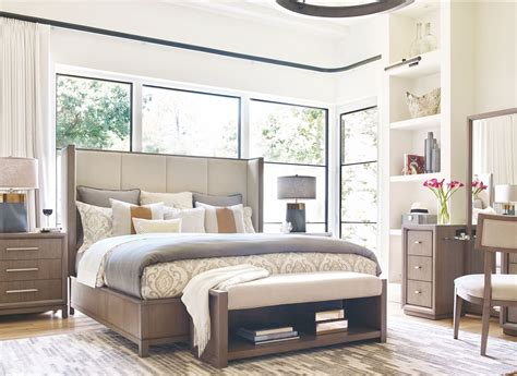 highline panel bedroom set rachael ray home by legacy high line greige king upholstered shelter bed from rachael