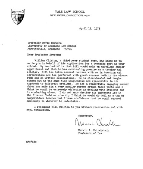 Yale Letter Of Recommendation Here S Bill Clinton S Personnel File From His Time As An Arkansas College Professor Buzzfeed News