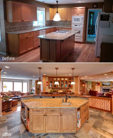 before and after a closed off kitchen opened up porch first floor remodel turns chopped up rooms into communal