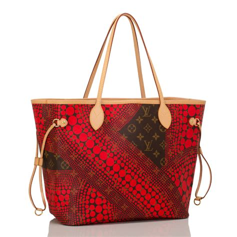 louis vuitton red monogram kusama waves neverfull mm