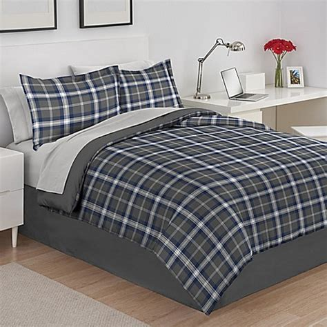 grey plaid bedding izod 174 byron plaid reversible comforter set in grey bed