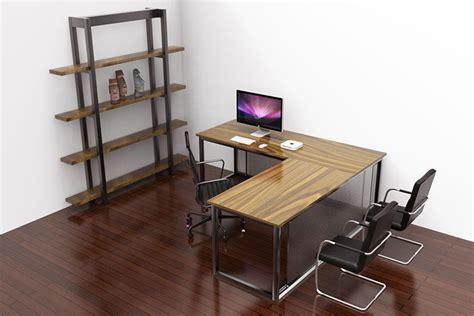 Industrial Corner Desk Otis Industrial Corner Desk Oak And Steel Ltd