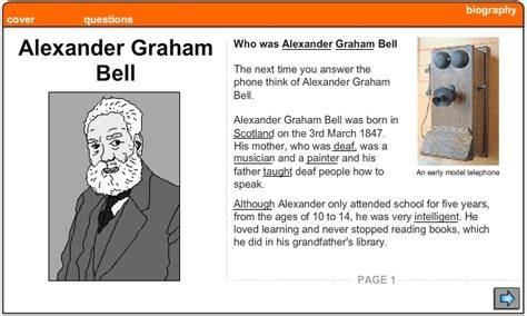 Alexander Graham Bell Biography Worksheet | alexander graham bell