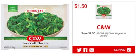 c w vegetables coupons high value 1 50 1 birds eye c w vegetable coupon as low