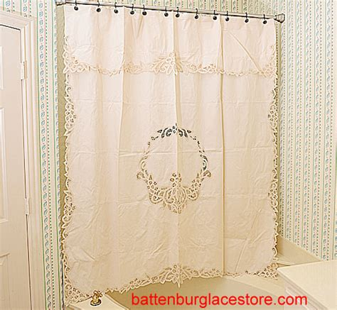 battenburg lace shower curtain canterbury style shower curtain with battenburg lace