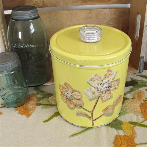 tin kitchen canisters krispy kan vintage cracker tin kitchen canister
