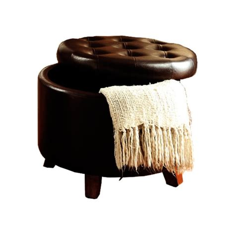 faux leather ottoman brown poundex round faux leather storage ottoman in brown f7061