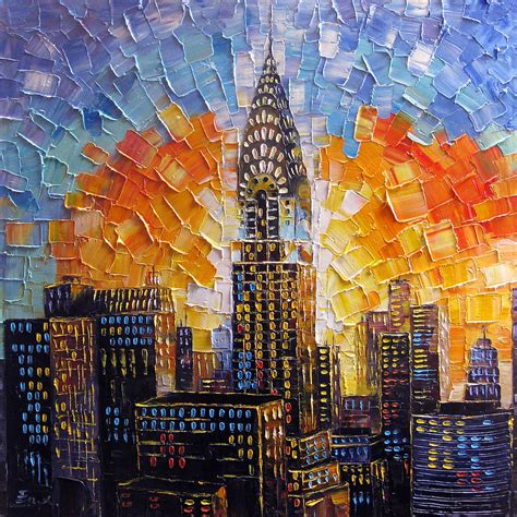 Building Painting | chrysler building new york city painting by enxu zhou