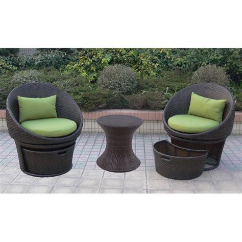 lowrey 3 piece wicker patio swivel chat furniture set