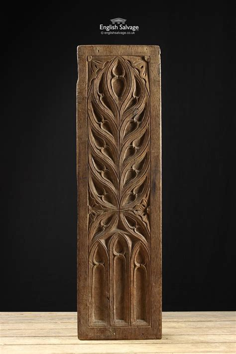 century oak carved gothic panel   wood