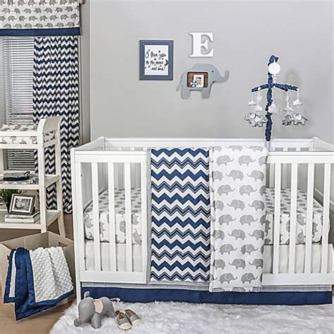 The Peanut Shell 174 Chevron Crib Bedding Collection In Navy Navy Chevron Crib Bedding