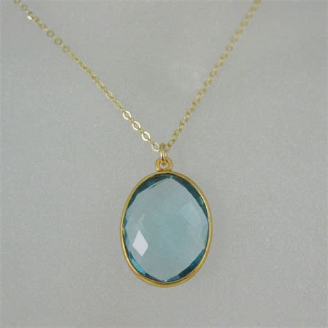 16 Necklace Gold Blue bezel gemstone oval pendant necklace earrings gold
