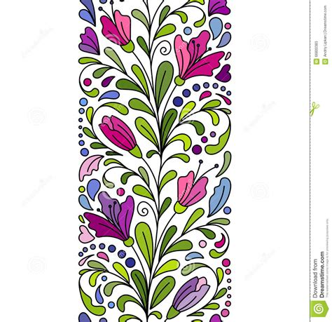 border decorative element patterns vector vector doodle flowers seamless border zentangle style