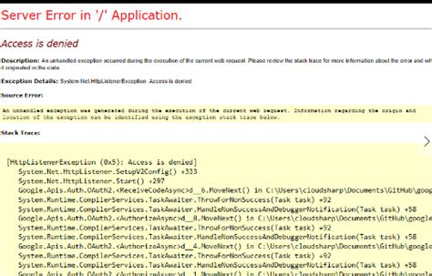 asp net mvc section google api authorization access denied while generating