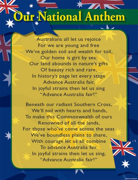 full version national anthem australian national anthem educational chart charts