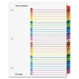 cardinal onestep printable table of contents dividers