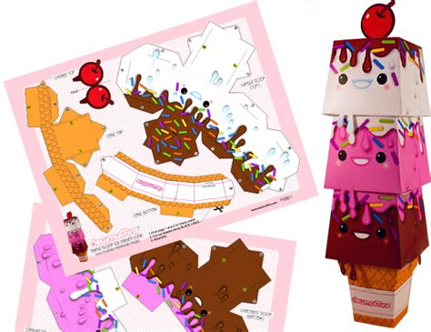 Papercraft Food - dewmuffins scoop papercraft papercraft