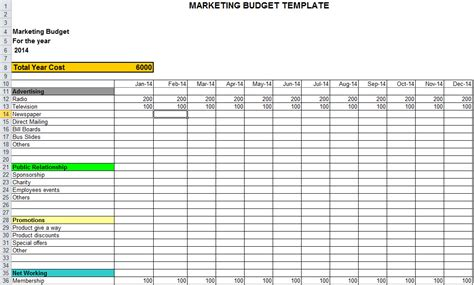 Marketing Budget Templates free marketing templates calendar template 2016