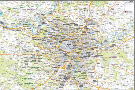 large printable road maps large detailed road map of the environs of paris city