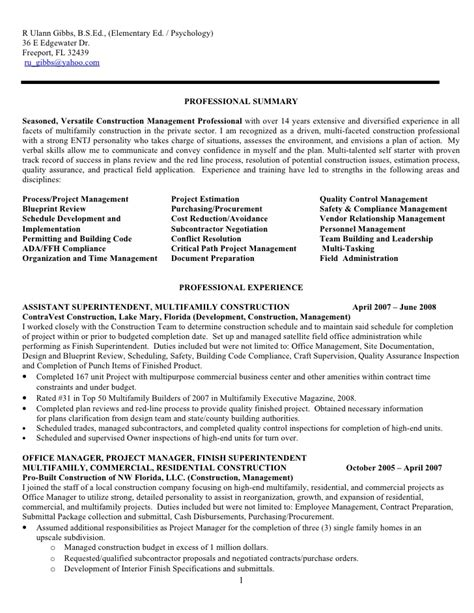 Construction Manager Sle Resume by Apartment Superintendent Resume Sales Superintendent Lewesmr
