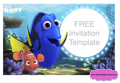 Finding Dory Birthday Invitations Template Finding Dory Party