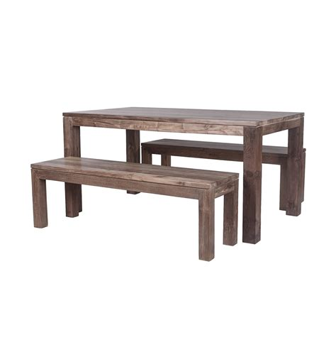 Karang Reclaimed Wood Dining Table And Benches Stunning Wood Dining Table With Bench