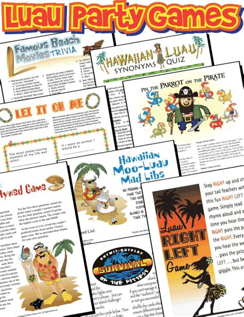 Hawaiian Themed Games | python printable games luau party pack review